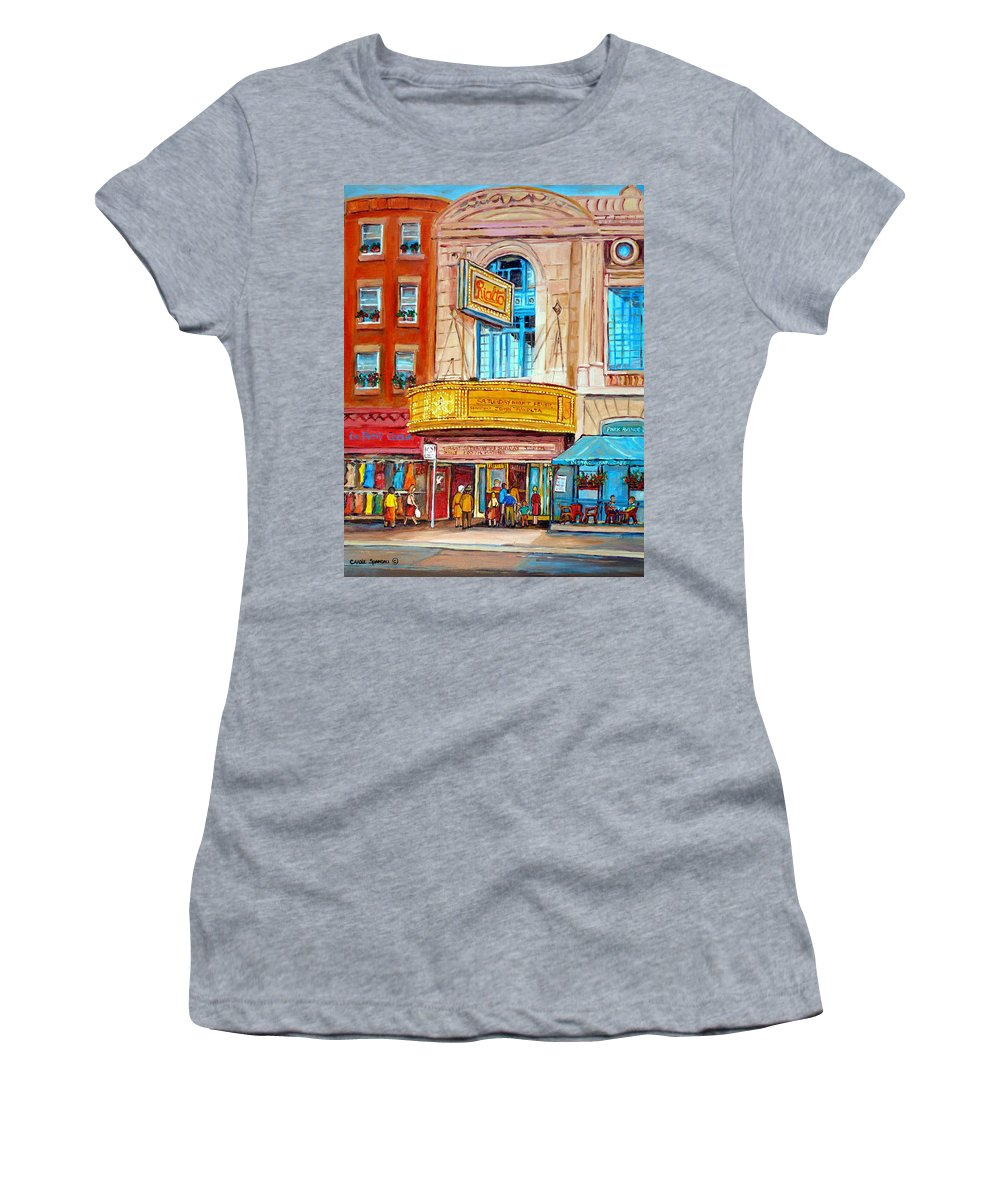 Montreal Women's T-Shirt (Athletic Fit) featuring the painting The Rialto Theatre Montreal by Carole Spandau