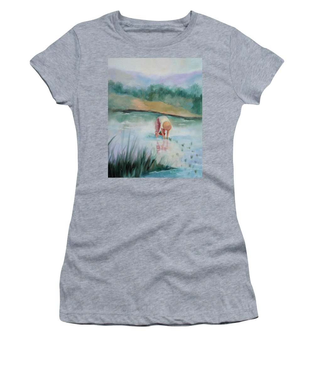 Figurative Women's T-Shirt featuring the painting The Rice Planter by Ginger Concepcion