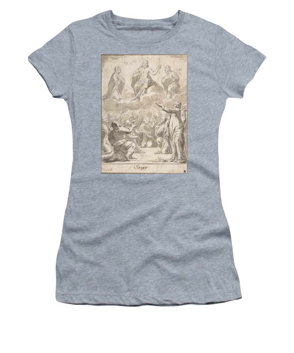 Jean Daret Women's T-Shirt featuring the drawing The Risen Christ Between The Virgin And St. Joseph Appearing To St. Peter And Other Apostles by Jean Daret