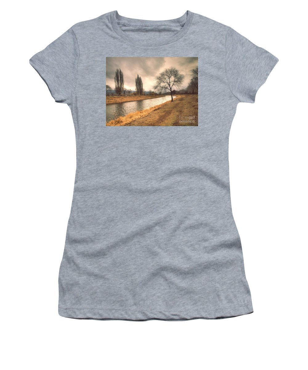 Channel Women's T-Shirt (Athletic Fit) featuring the photograph The River Channel In January by Tara Turner