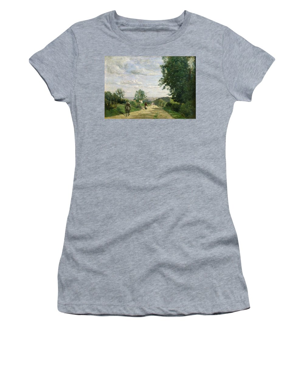The Road To Sevres Women's T-Shirt (Athletic Fit) featuring the painting The Road To Sevres by Jean Baptiste Camille Corot