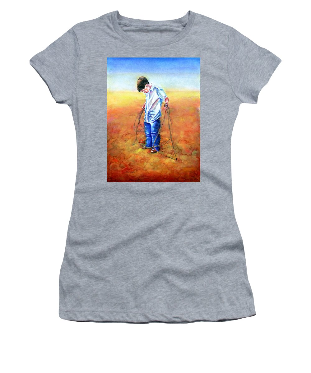 Child Women's T-Shirt (Athletic Fit) featuring the painting The Roping Lesson by Shannon Grissom