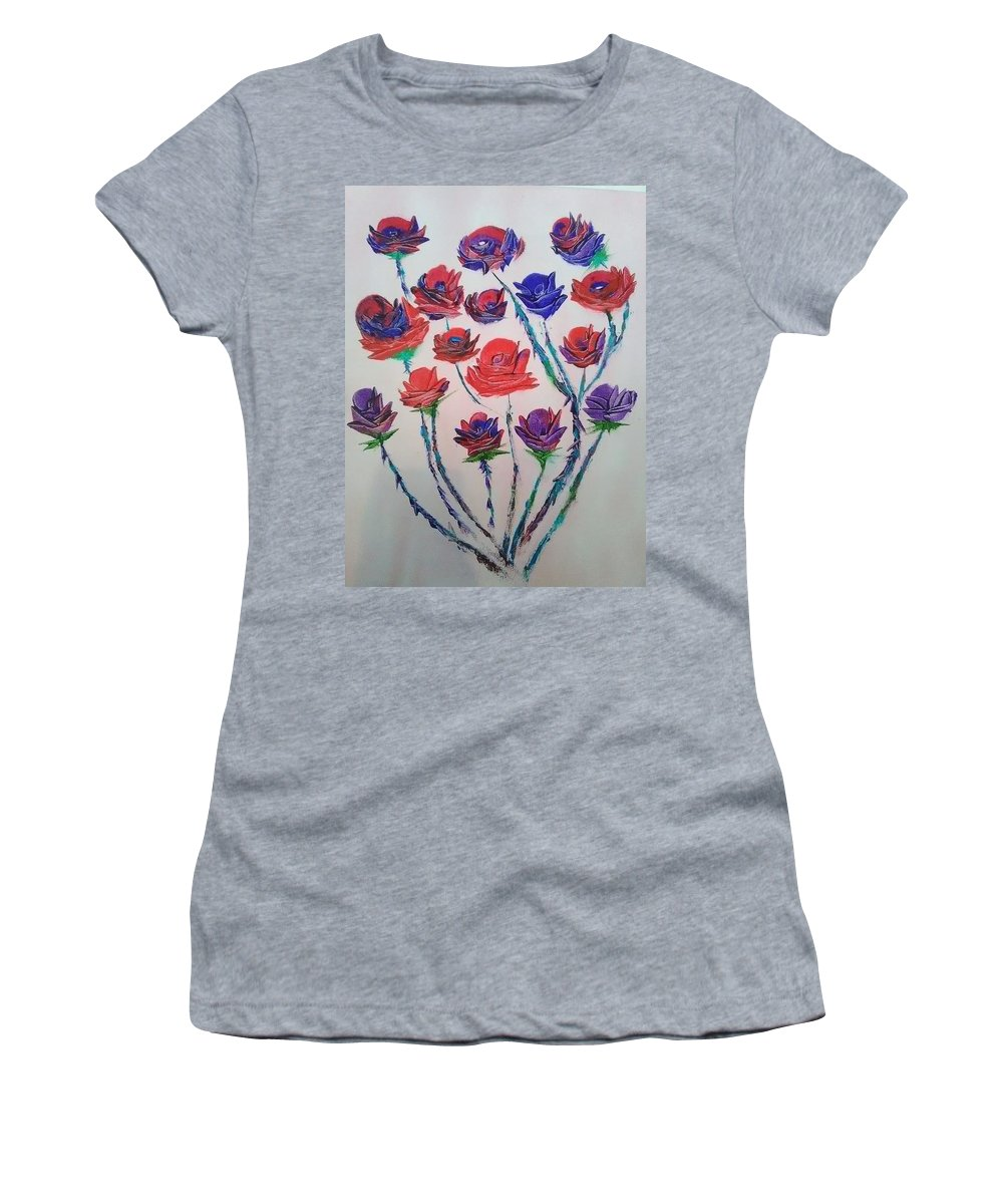 Canvas Painting Women's T-Shirt featuring the painting The Rose Series by Oge Eze