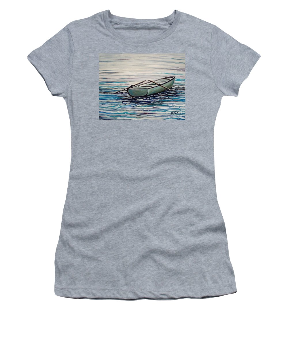 Water Women's T-Shirt featuring the painting The Row Boat by Elizabeth Robinette Tyndall