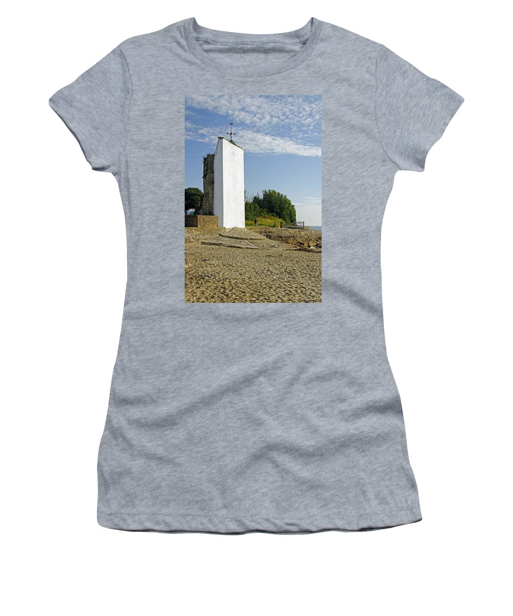 St Helens Women's T-Shirt (Athletic Fit) featuring the photograph The Seamark On St Helens Beach by Rod Johnson