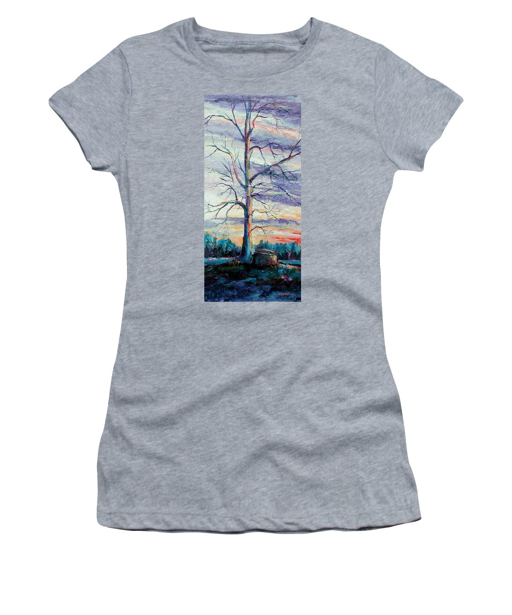 Lone Tree Women's T-Shirt (Athletic Fit) featuring the painting The Sentinel by Ginger Concepcion