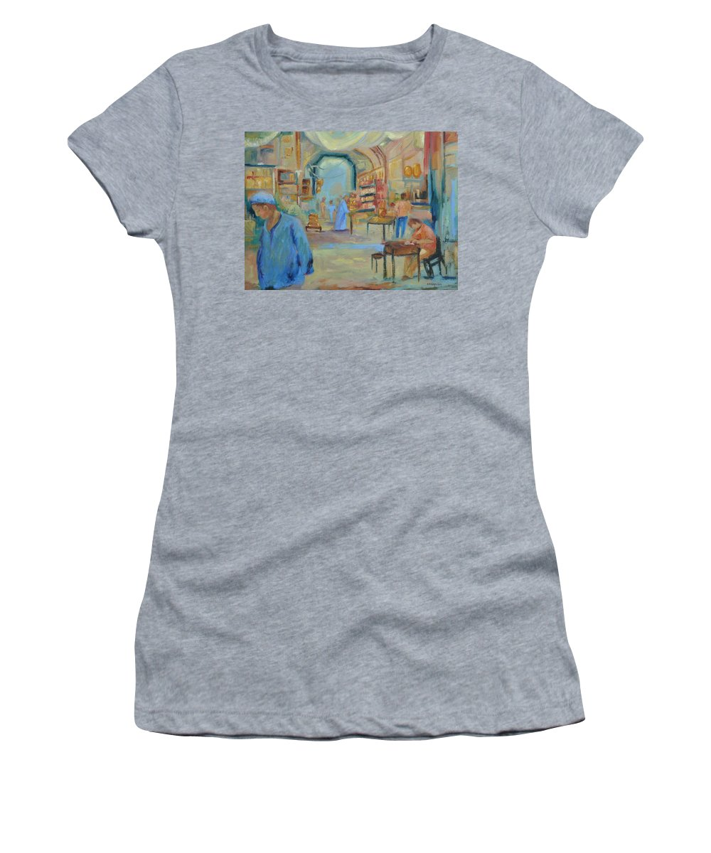 Figurative Women's T-Shirt (Athletic Fit) featuring the painting The Souk by Ginger Concepcion