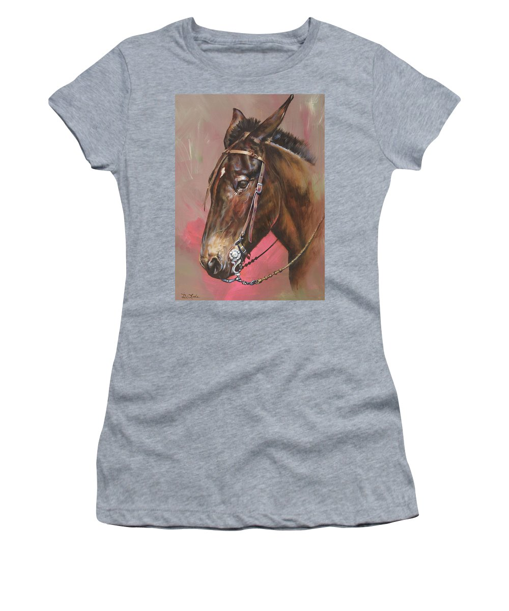 Mules Women's T-Shirt featuring the painting The Spanish Mule by Mia DeLode