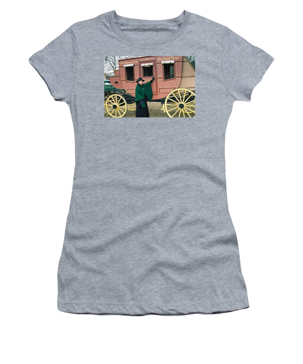 Stage Old West Lady 1880's Women's T-Shirt (Athletic Fit) featuring the photograph The Stage by Cindy New