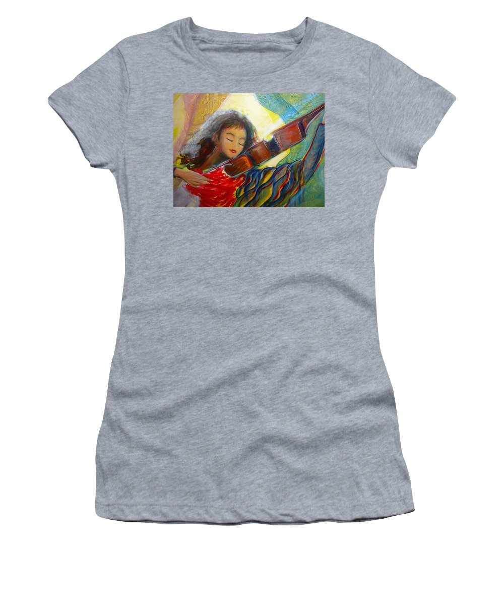 Violin Women's T-Shirt (Athletic Fit) featuring the painting The Sweetest Sounds by Regina Walsh