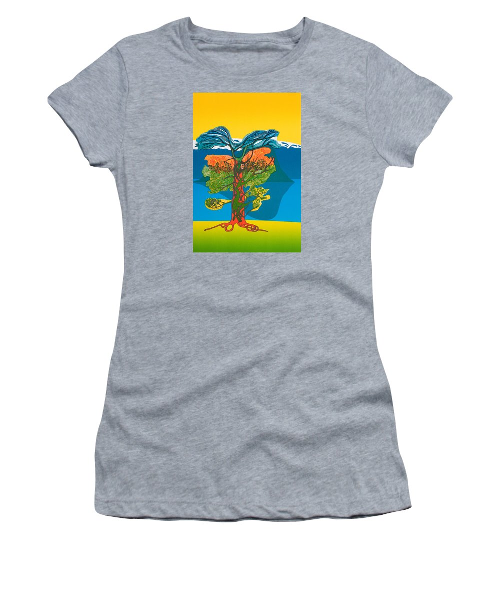 Landscape Women's T-Shirt featuring the mixed media The Tree of life. From the Viking Saga. by Jarle Rosseland