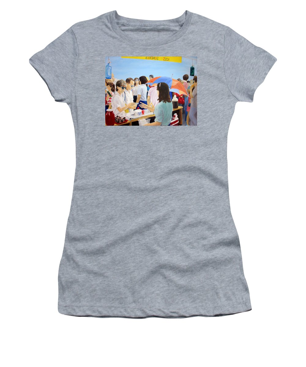 People Women's T-Shirt featuring the painting The Vendor by Steve Karol