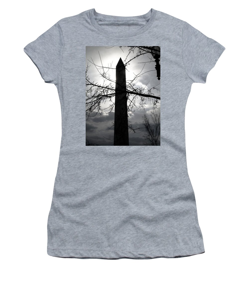 Photography Women's T-Shirt (Athletic Fit) featuring the pyrography The Washington Monument - Black And White by Fareeha Khawaja