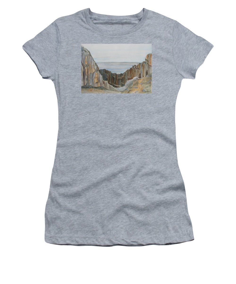 Ocean Women's T-Shirt (Athletic Fit) featuring the painting The Whale Watchers At Elephant Rock by Jenny Armitage