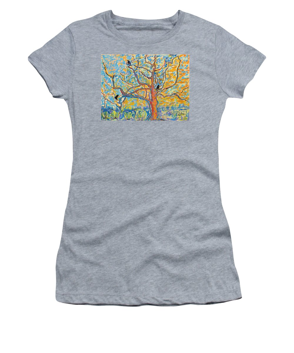 Abstract Painting Women's T-Shirt (Athletic Fit) featuring the mixed media The Wind Dancers by Pat Saunders-White