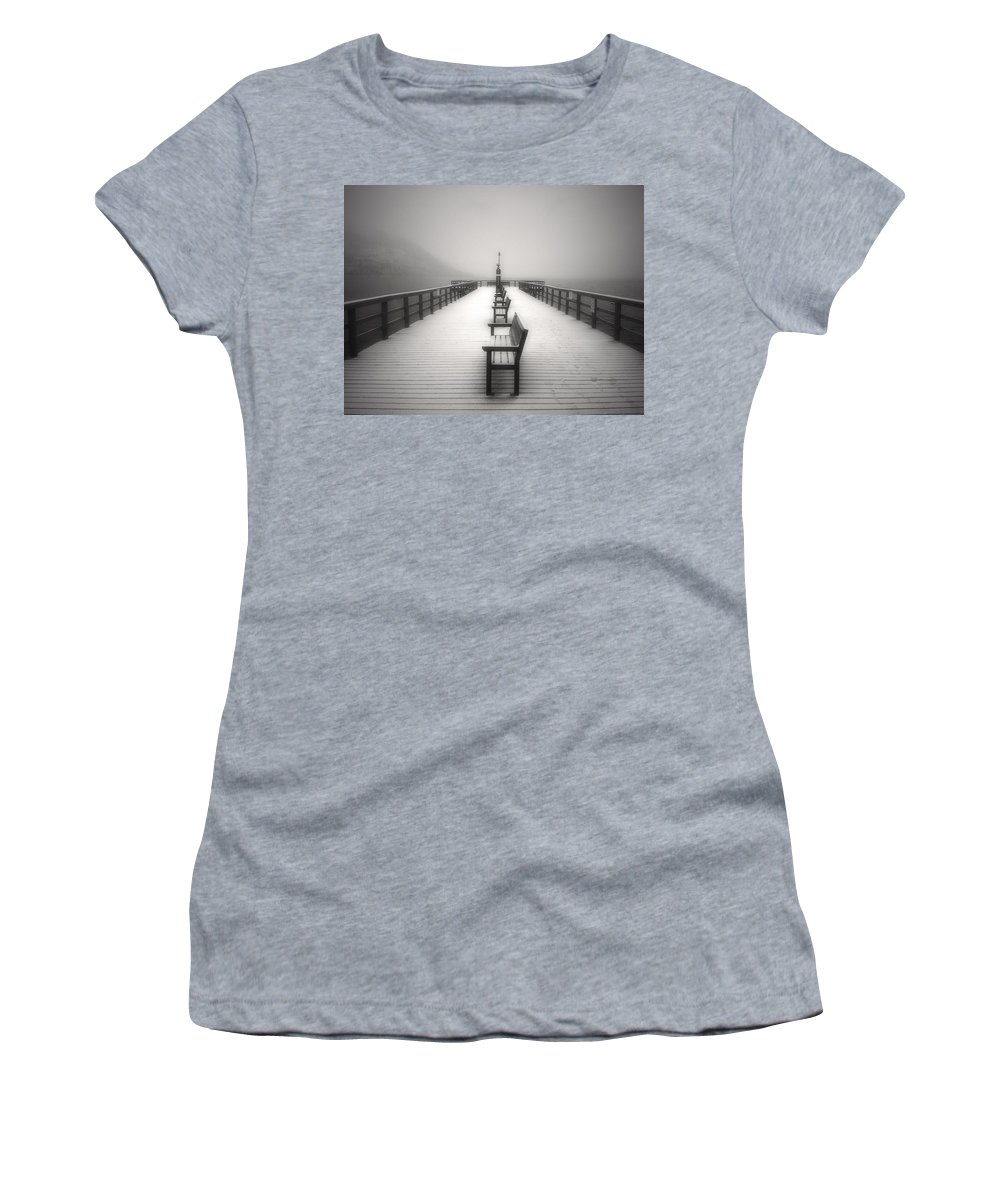 Okanagan Women's T-Shirt (Athletic Fit) featuring the photograph The Winter Pier by Tara Turner