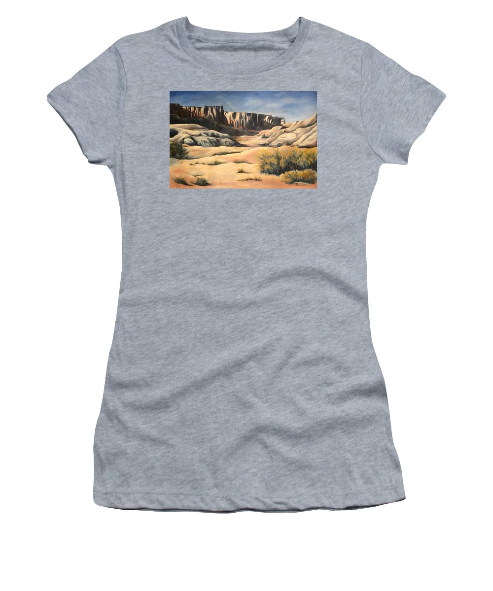 Landscape Women's T-Shirt (Athletic Fit) featuring the painting There by Melody Horton Karandjeff