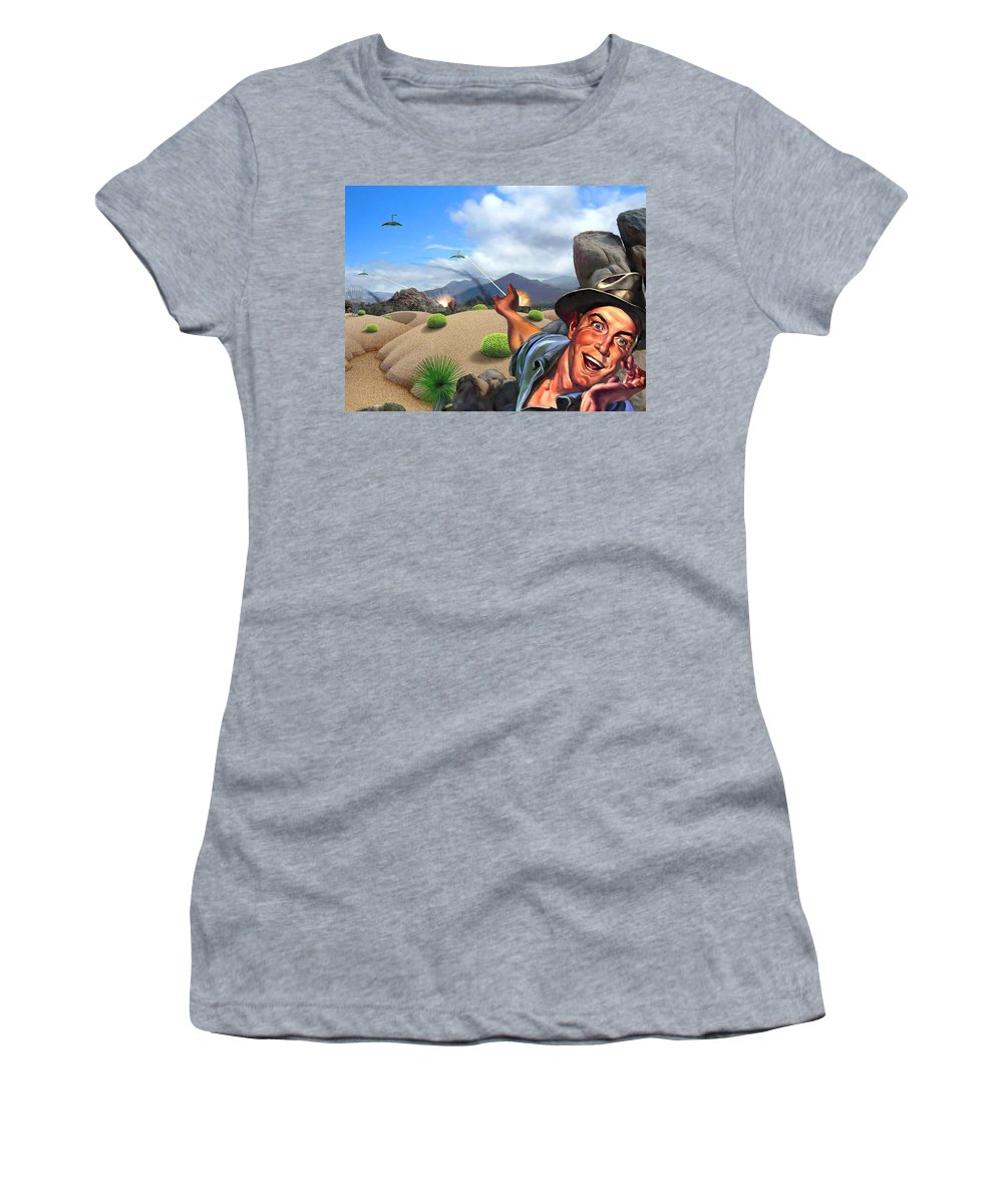Landscape Women's T-Shirt (Athletic Fit) featuring the digital art They're Here by Snake Jagger