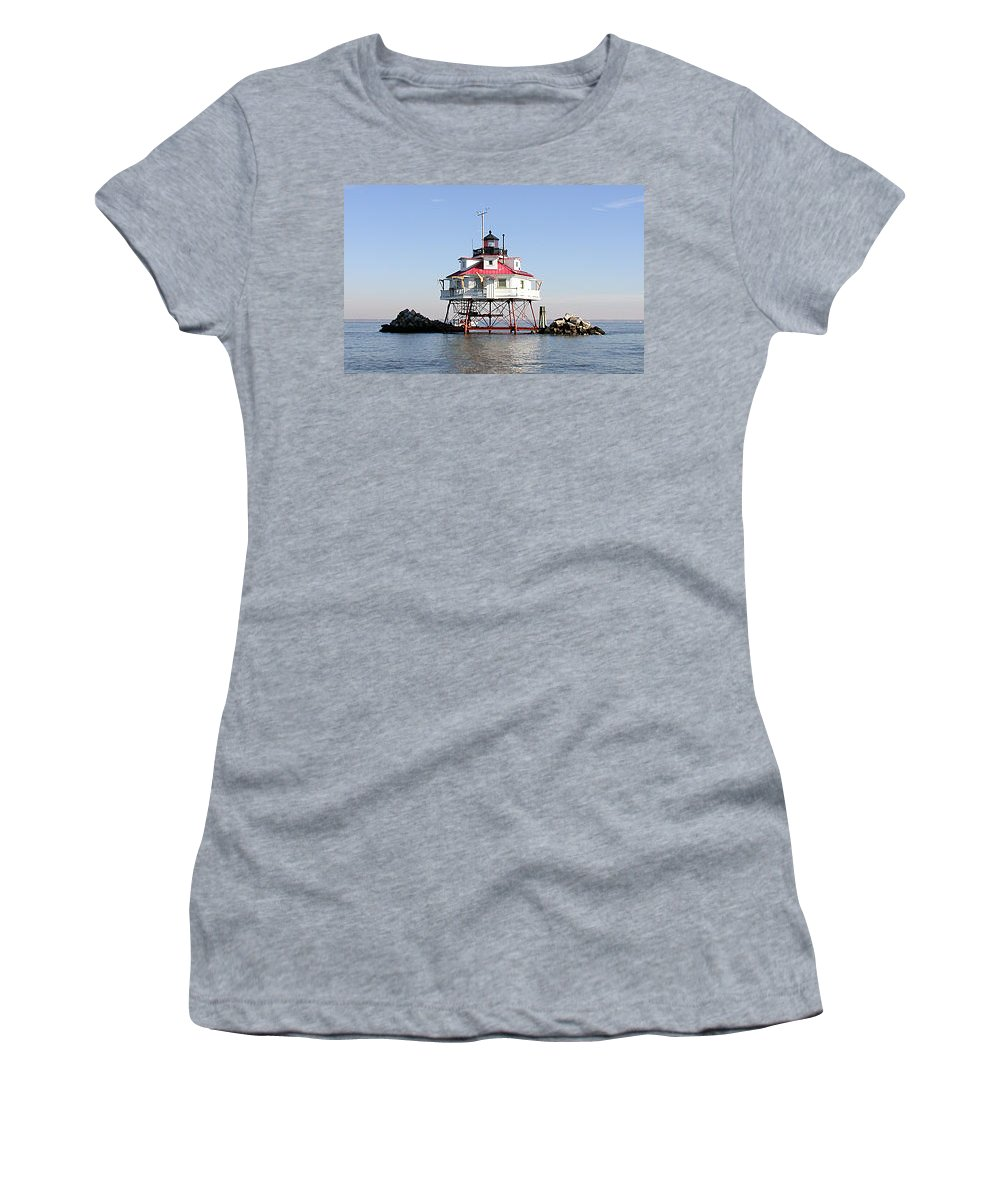 Lighthouse Women's T-Shirt (Athletic Fit) featuring the photograph Thomas Point by John Graziani