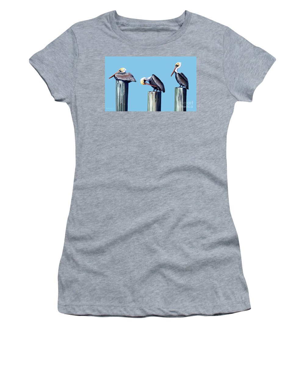 Pelican Women's T-Shirt (Athletic Fit) featuring the painting Three Pelicans by Michael Nowak
