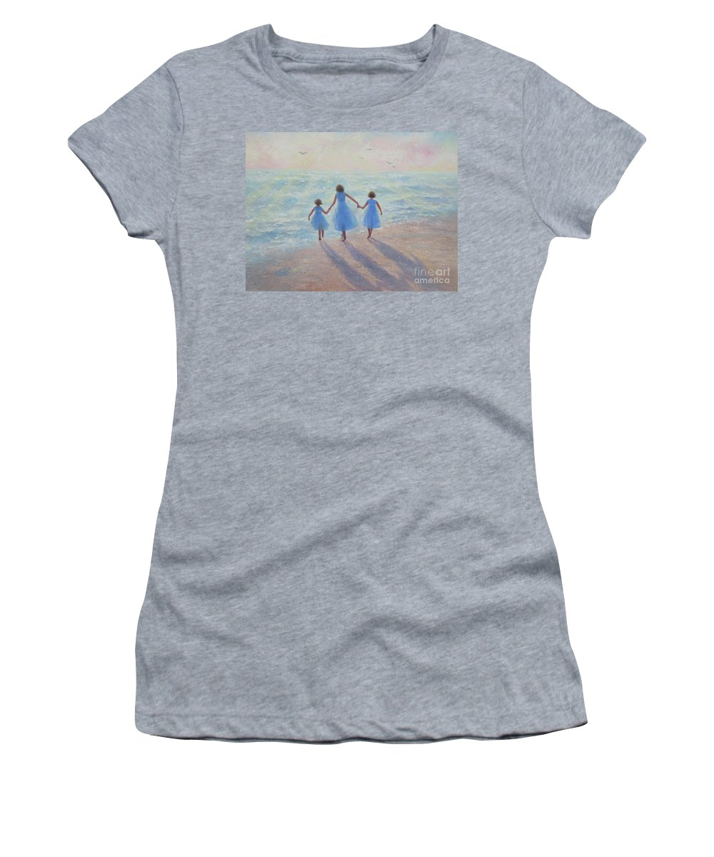 Three Sisters Women's T-Shirt (Athletic Fit) featuring the painting Three Sisters Beach by Vickie Wade