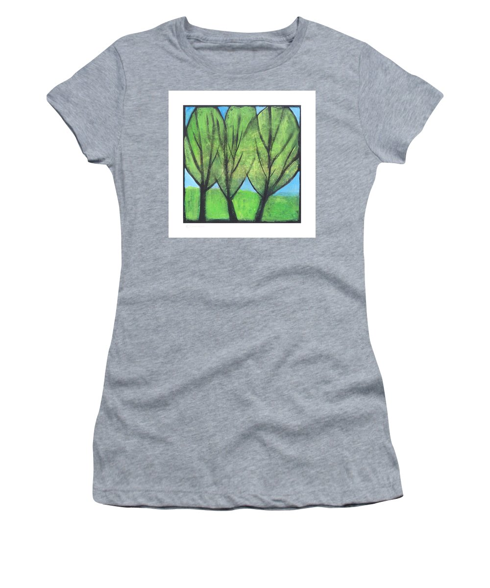 Trees Women's T-Shirt (Athletic Fit) featuring the painting Three Sisters by Tim Nyberg