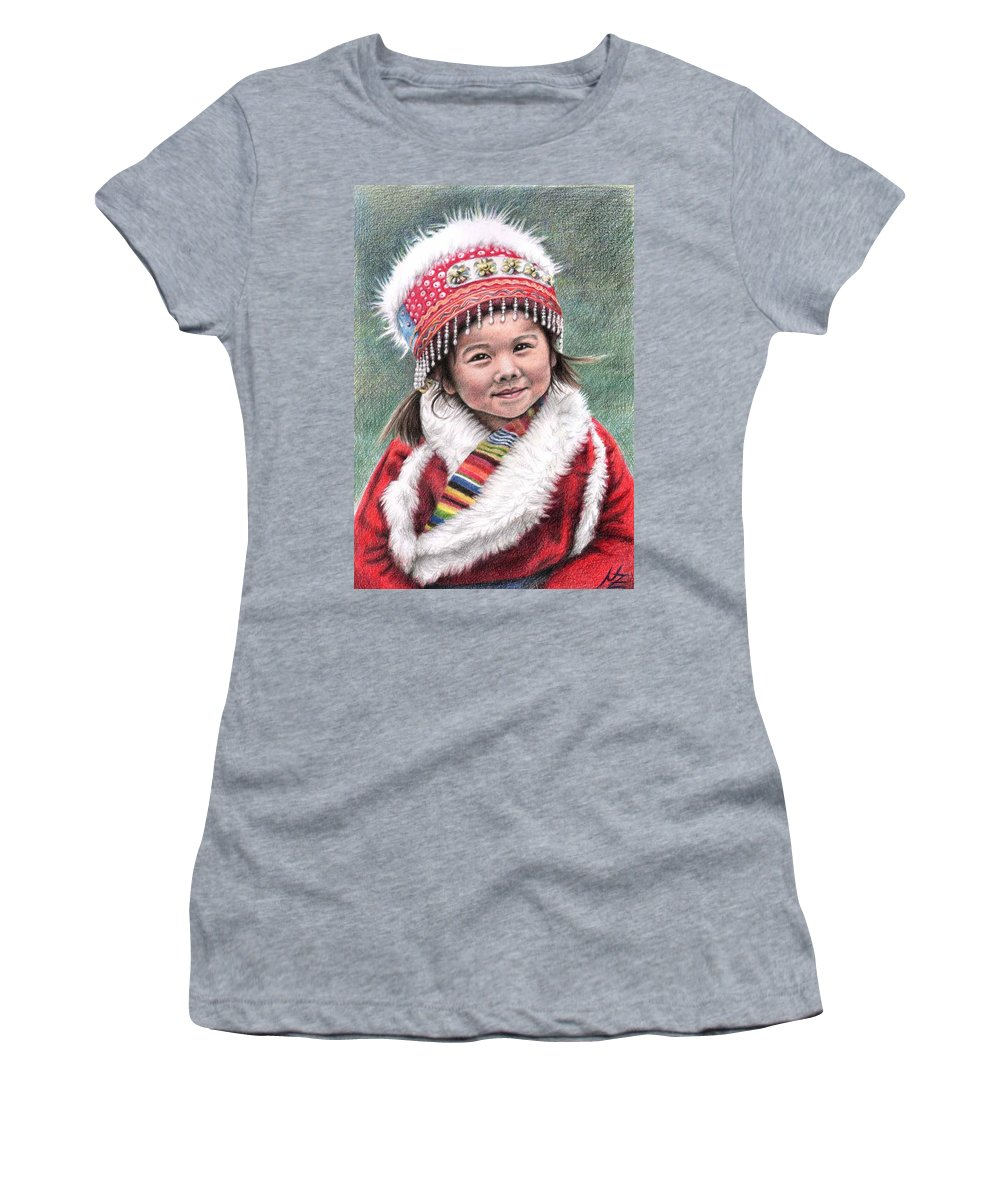 Girl Women's T-Shirt (Athletic Fit) featuring the drawing Tibetan Girl by Nicole Zeug