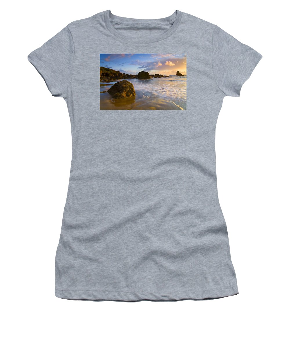Beach Women's T-Shirt (Athletic Fit) featuring the photograph Tidal Flow by Mike Dawson