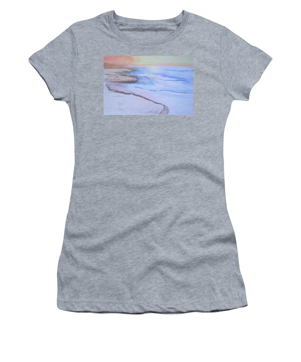 Landscape Women's T-Shirt featuring the drawing Tide is Out by Suzanne Udell Levinger
