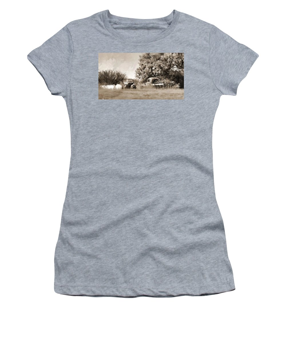 Timeworn Women's T-Shirt (Athletic Fit) featuring the painting Timeworn by Susan Kinney