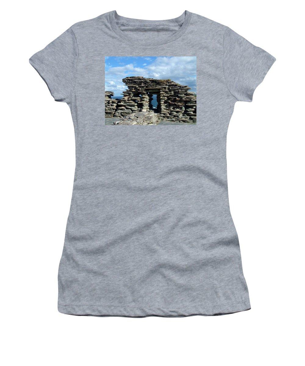 Tintagel Women's T-Shirt featuring the photograph Tintagel Castle 3 by Kurt Van Wagner