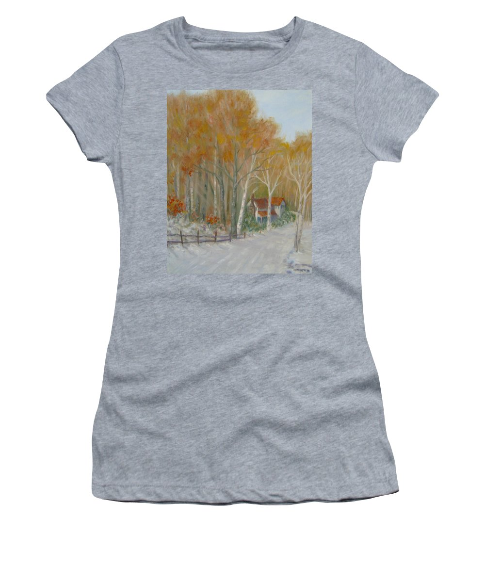 Country Road; House; Snow Women's T-Shirt featuring the painting To Grandma's House by Ben Kiger