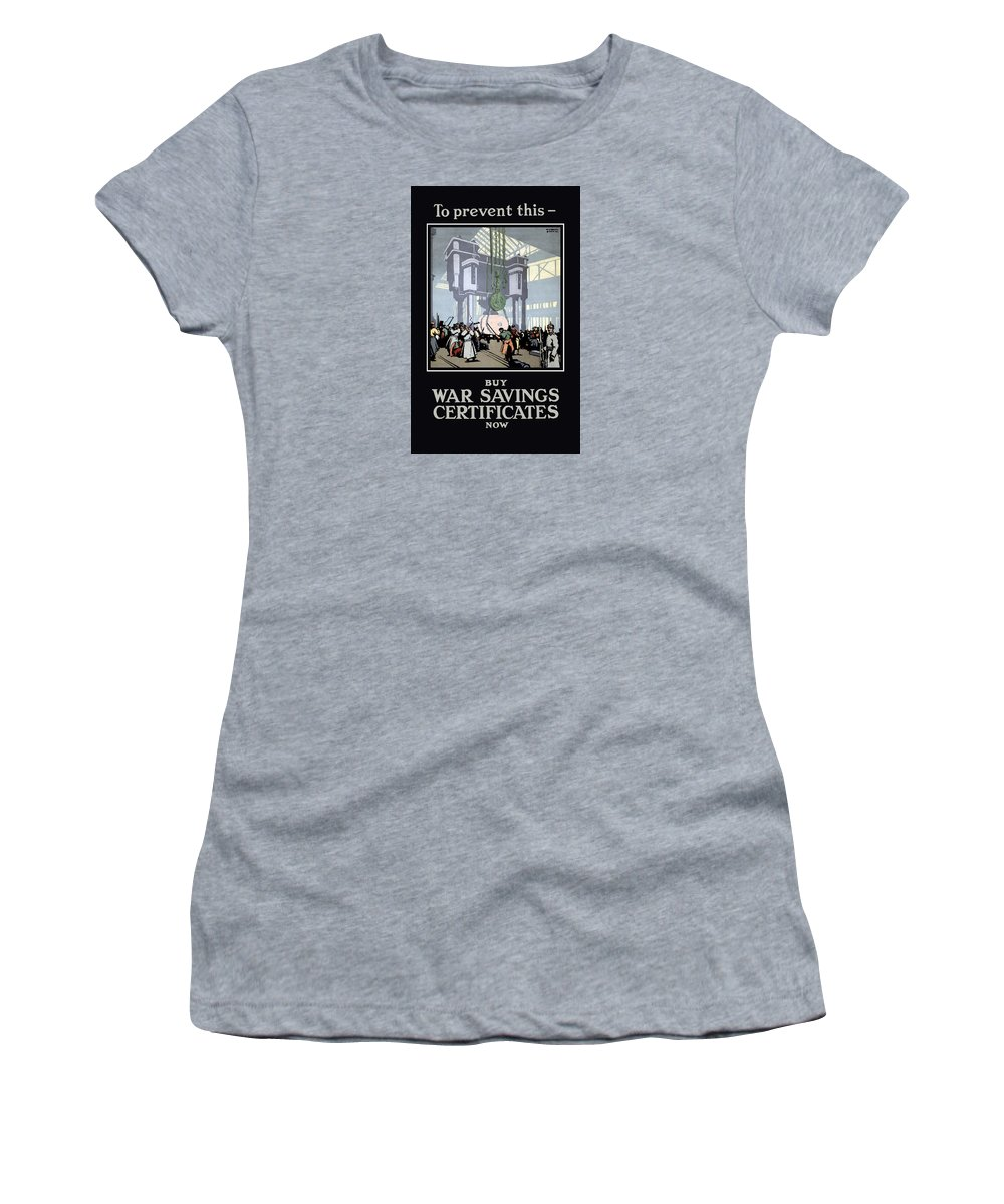 Ww1 Women's T-Shirt (Athletic Fit) featuring the painting To Prevent This - Buy War Savings Certificates by War Is Hell Store