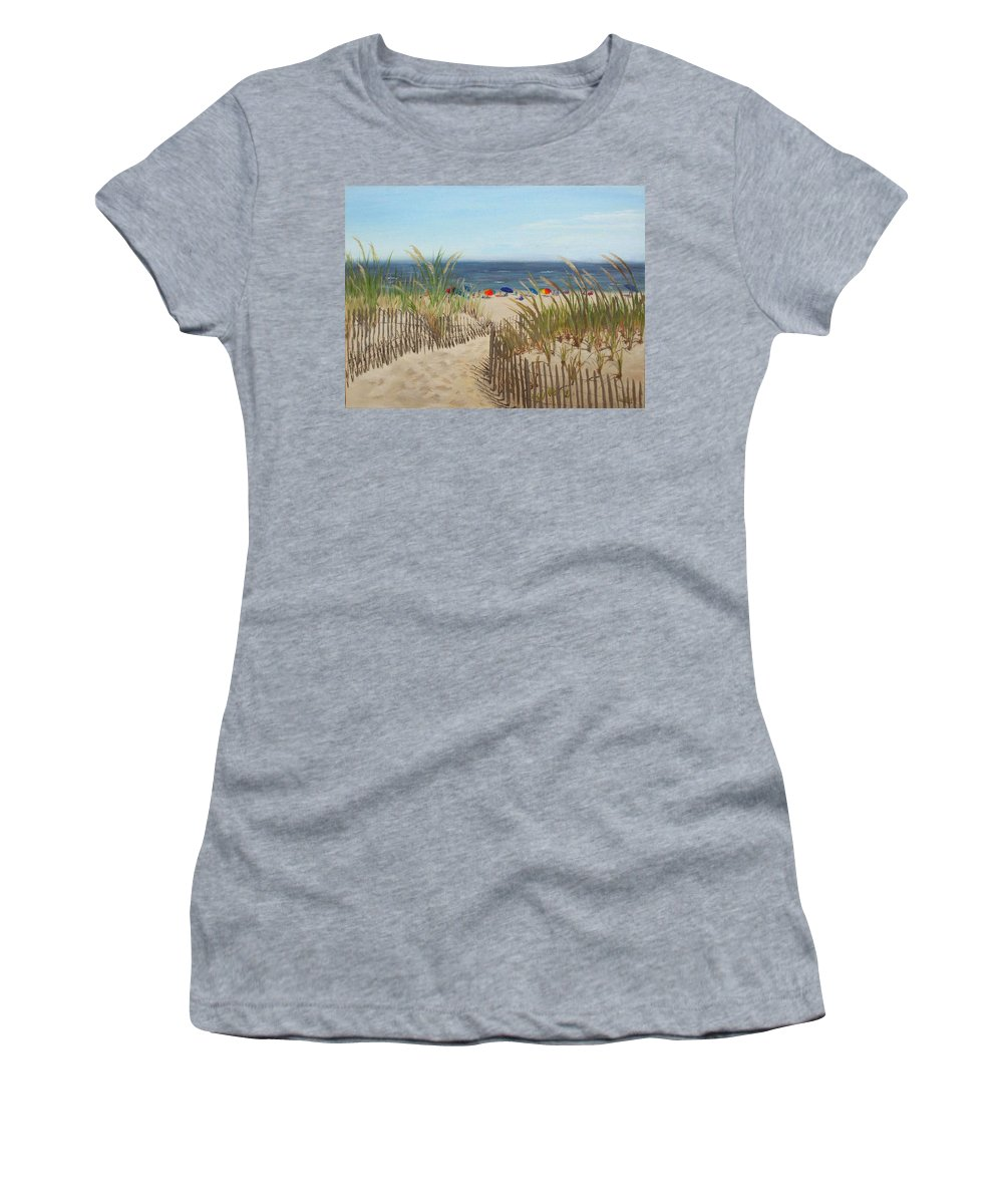 Beach Women's T-Shirt (Athletic Fit) featuring the painting To The Beach by Lea Novak