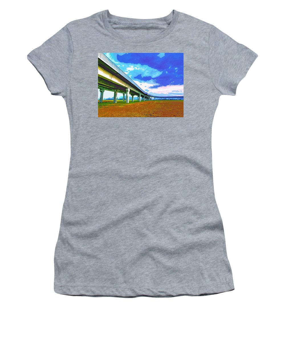 Toll Road Women's T-Shirt (Athletic Fit) featuring the mixed media Toll Road by Dominic Piperata