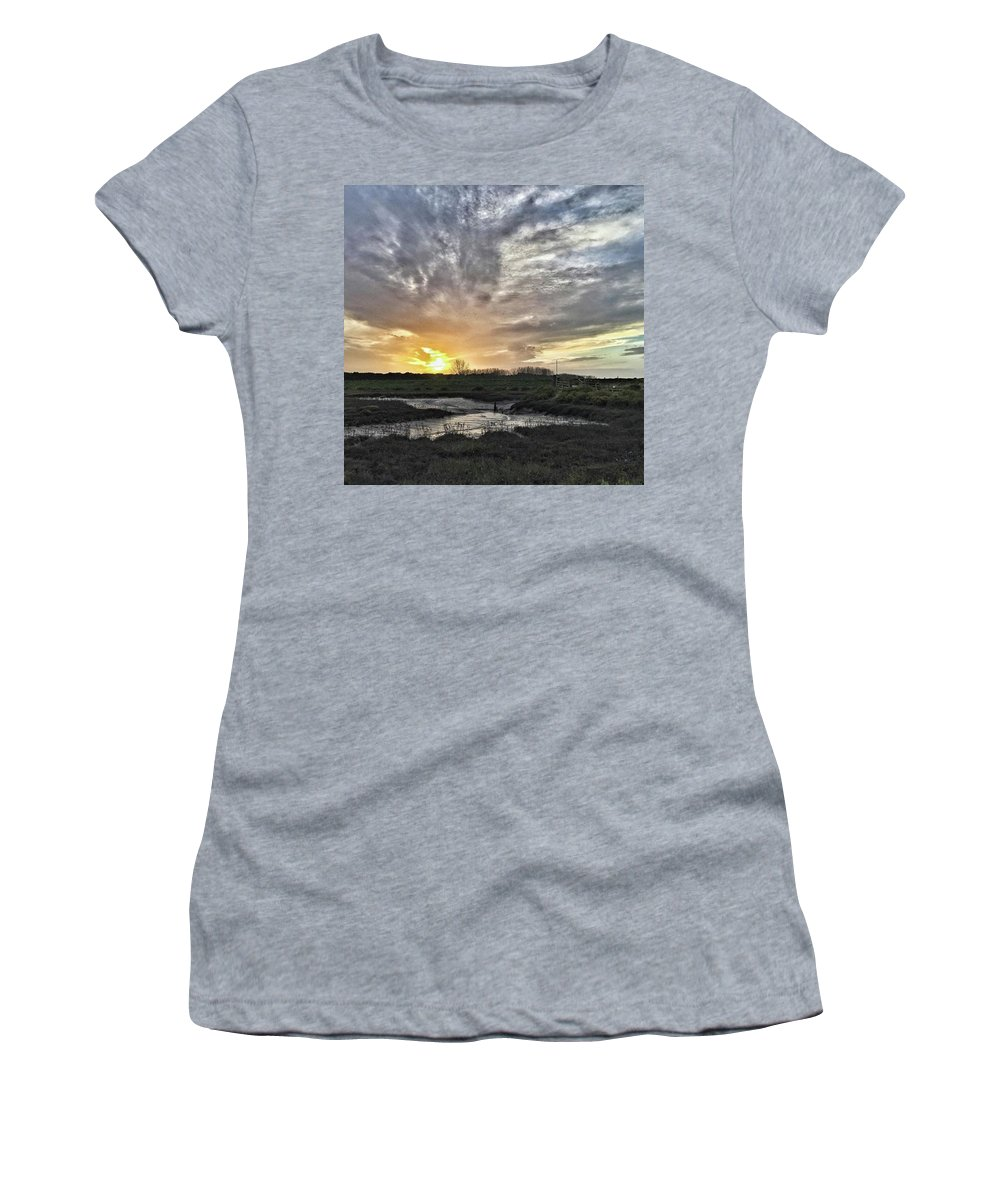 Natureonly Women's T-Shirt featuring the photograph Tonight's Sunset From Thornham by John Edwards
