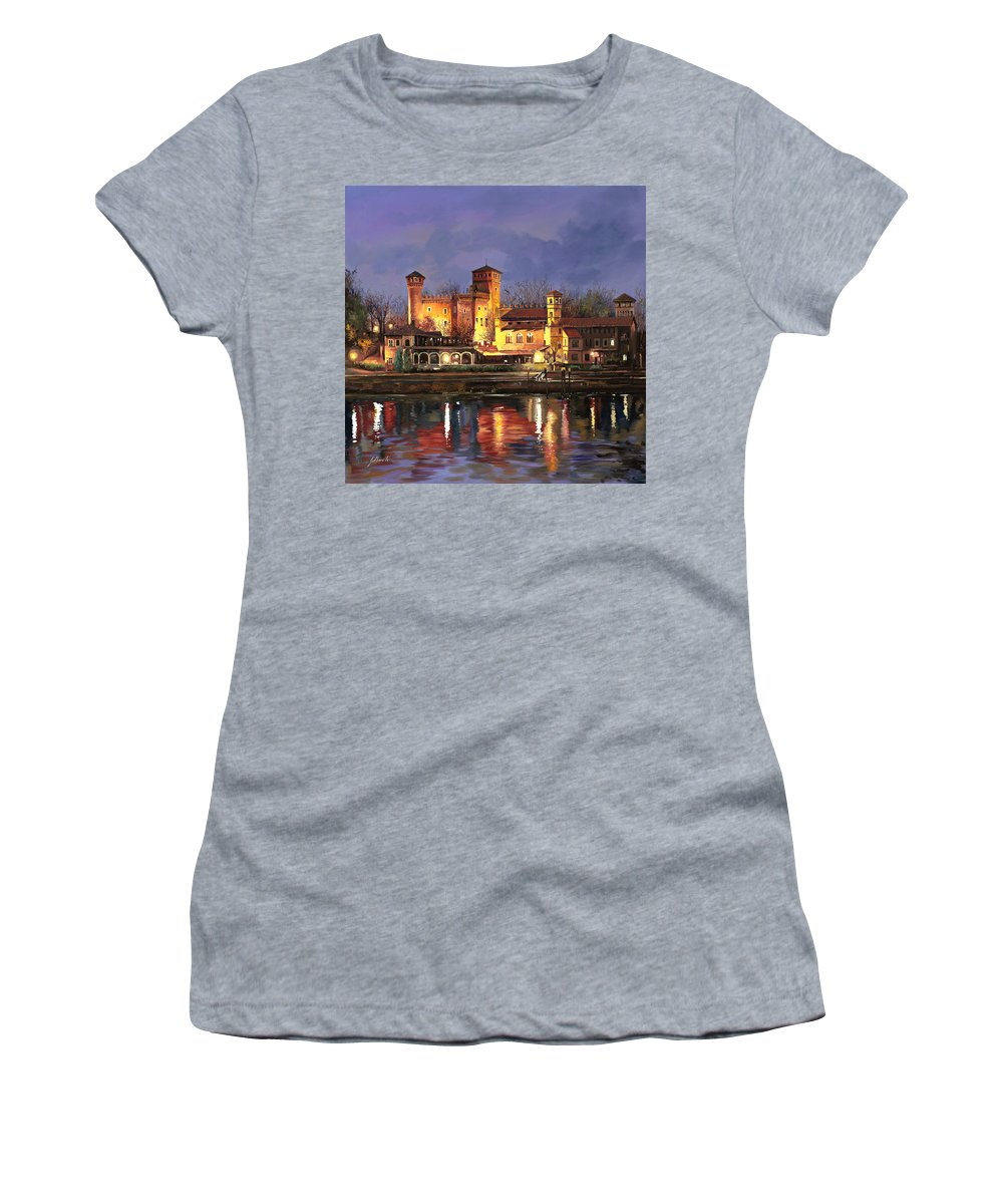 Castle Women's T-Shirt (Athletic Fit) featuring the painting Torino-il Borgo Medioevale Di Notte by Guido Borelli