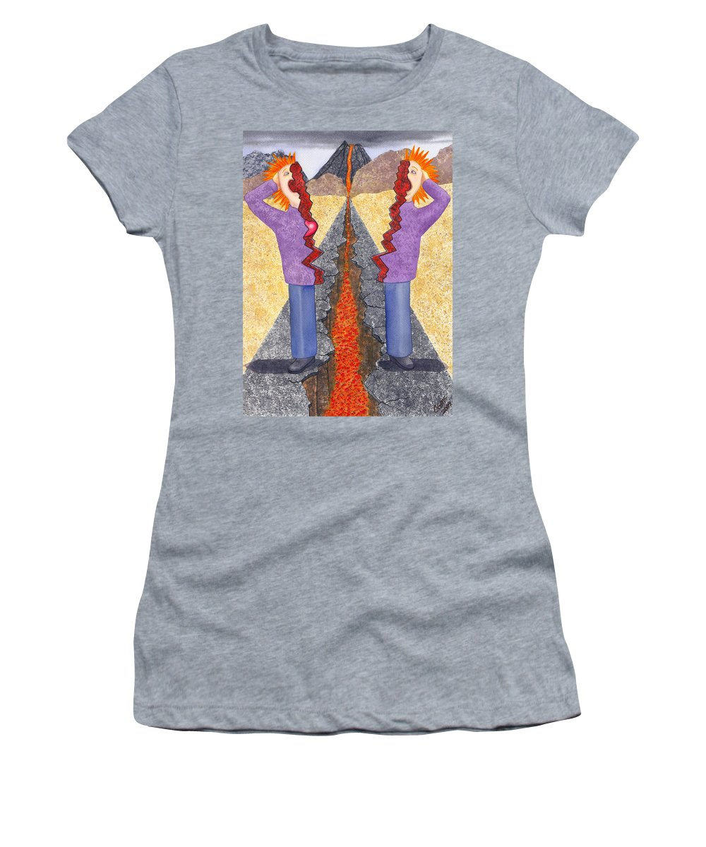 Frustration Women's T-Shirt (Athletic Fit) featuring the painting Torn by Catherine G McElroy