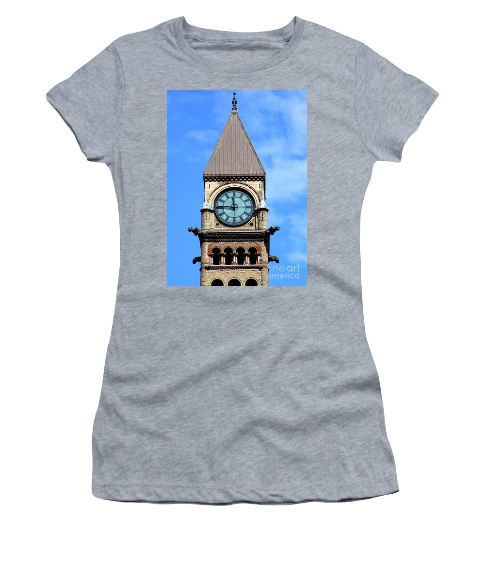 Front Street Women's T-Shirt (Athletic Fit) featuring the photograph Toronto Clock Tower by Randall Weidner