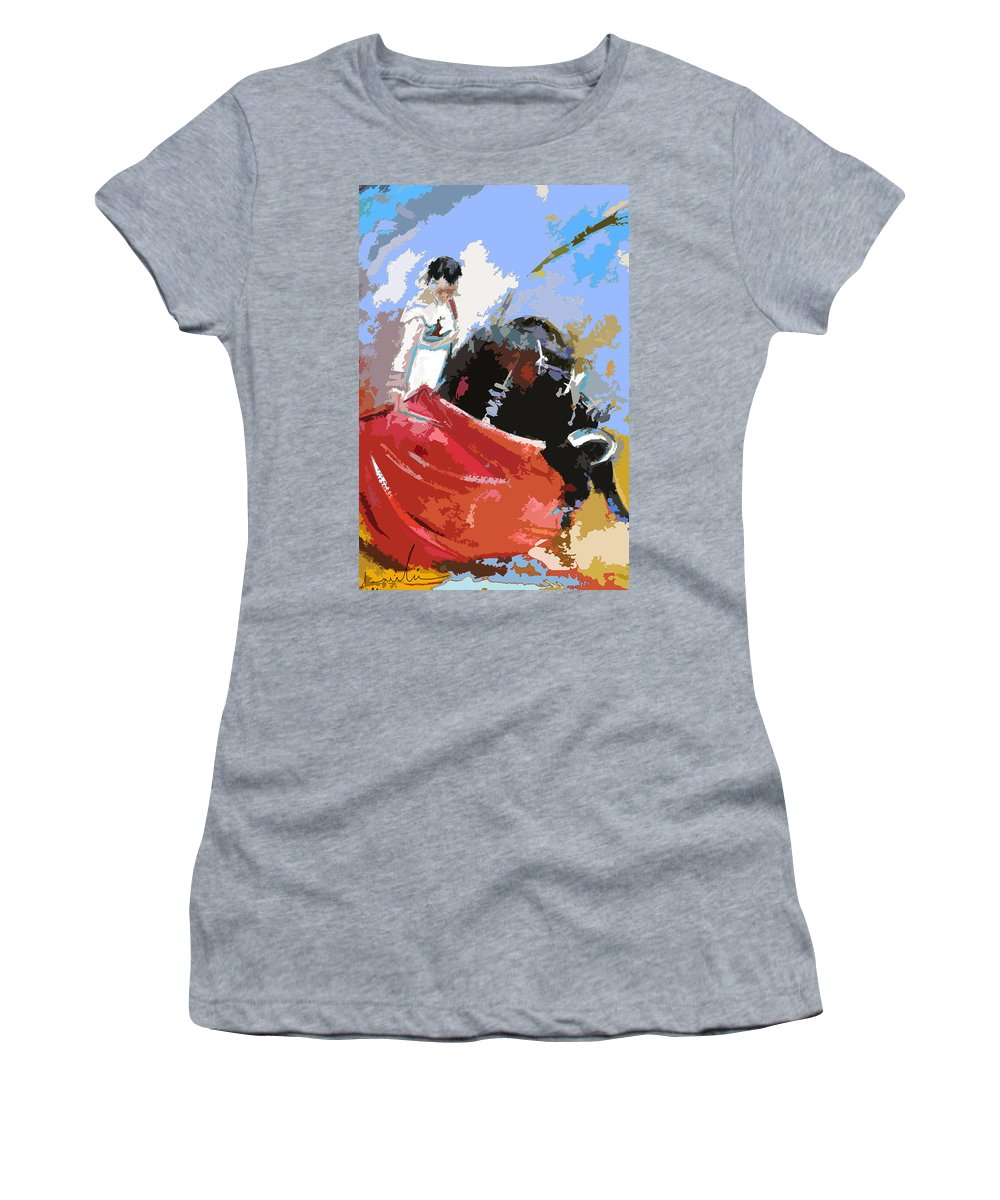 Animals Women's T-Shirt (Athletic Fit) featuring the painting Toroscape 36 by Miki De Goodaboom