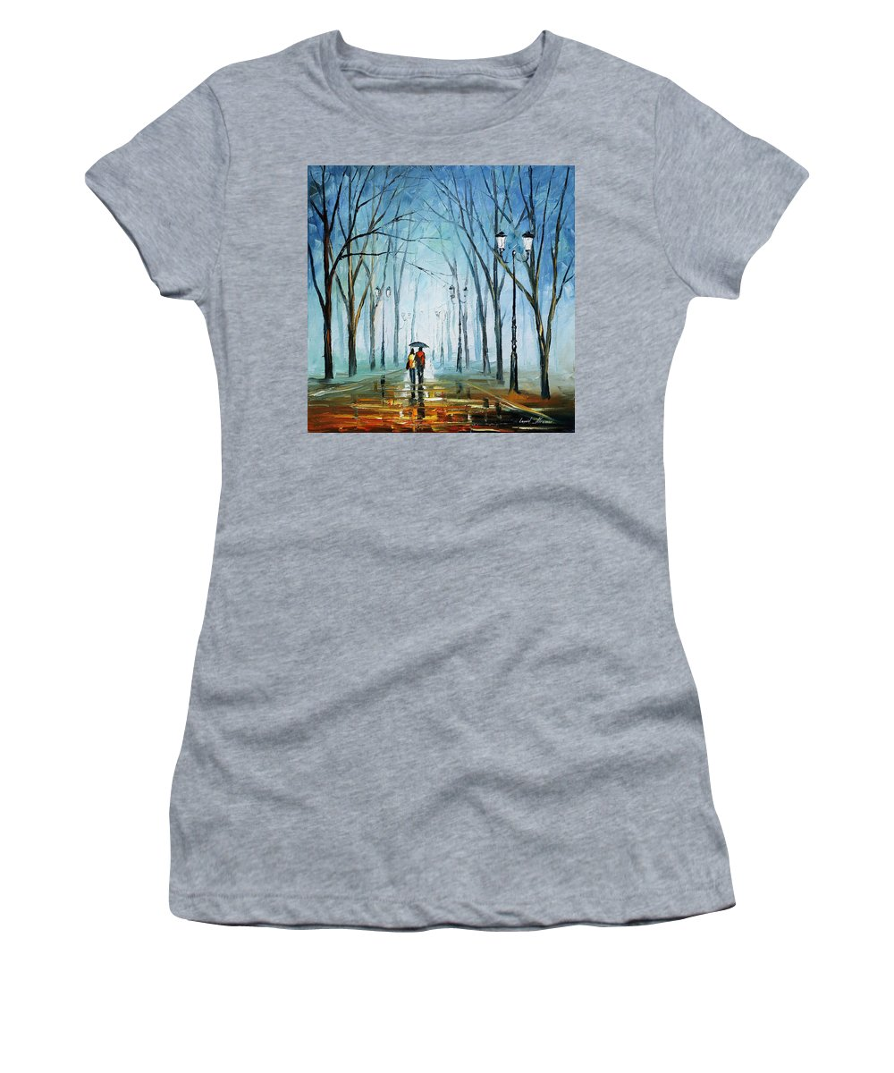 Afremov Women's T-Shirt (Athletic Fit) featuring the painting Touching Fog by Leonid Afremov
