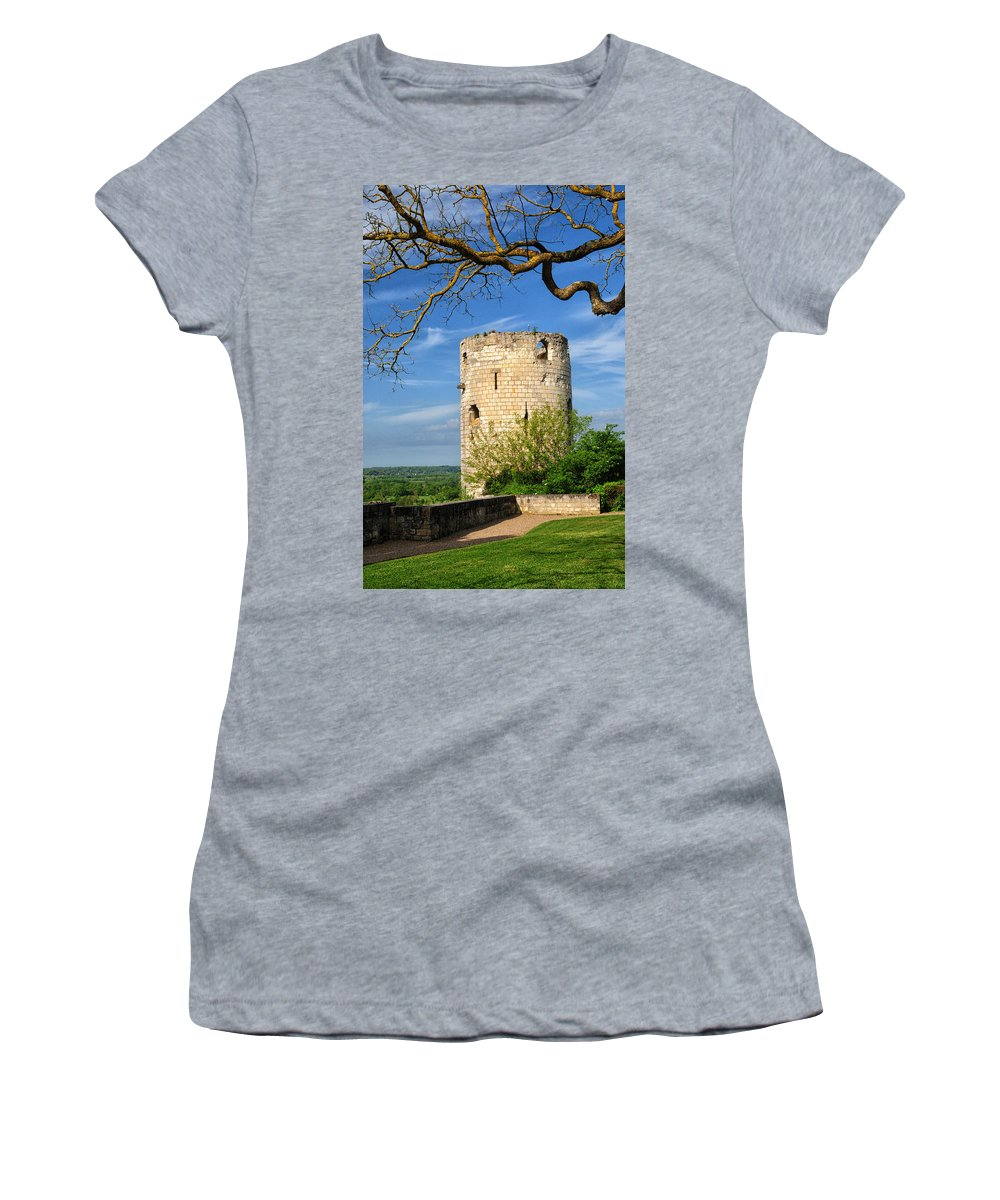 Chateau De Chinon Women's T-Shirt featuring the photograph Tower At Chateau De Chinon by Dave Mills