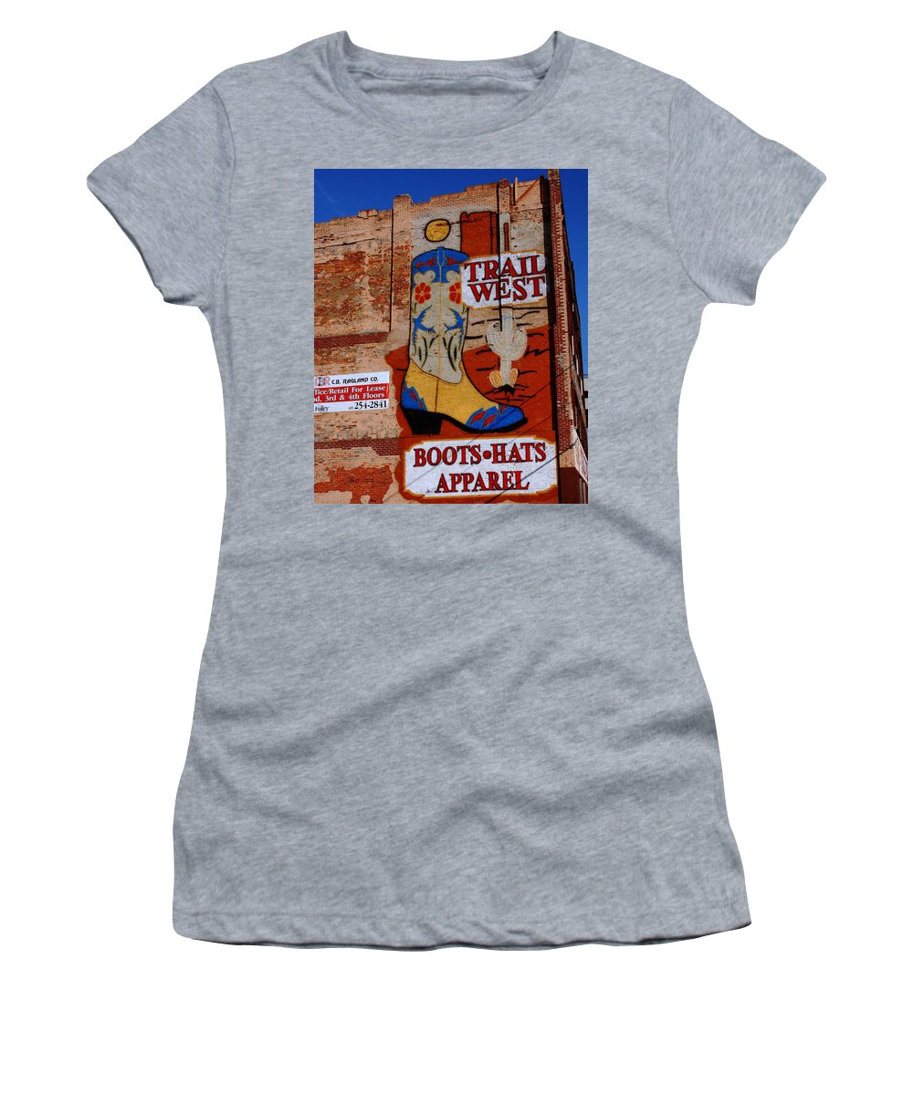 Mural Women's T-Shirt (Athletic Fit) featuring the photograph Trail West Mural by Susanne Van Hulst