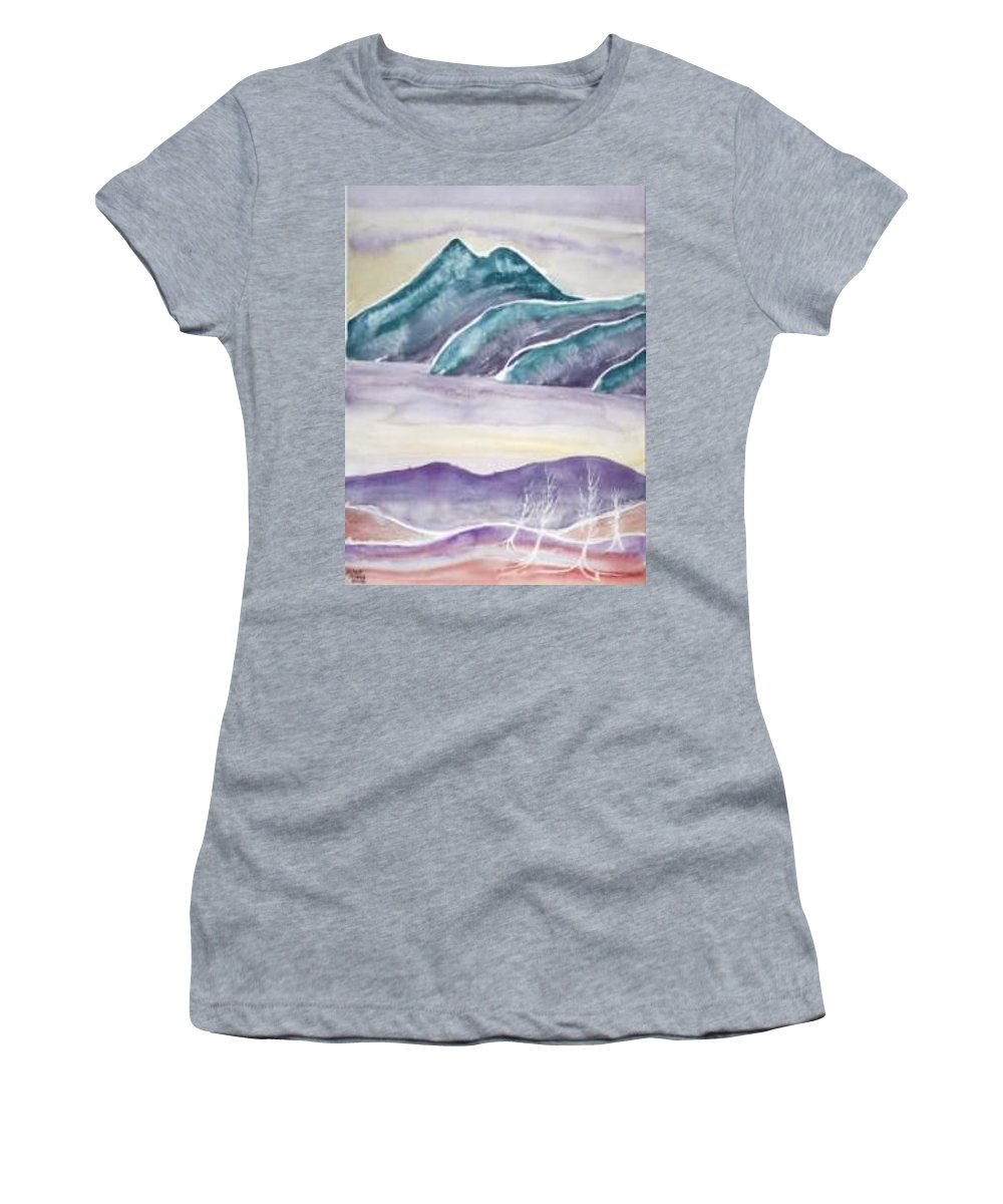 Watercolor Women's T-Shirt (Athletic Fit) featuring the painting Tranquility Landscape Mountain Surreal Modern Fine Art Print by Derek Mccrea