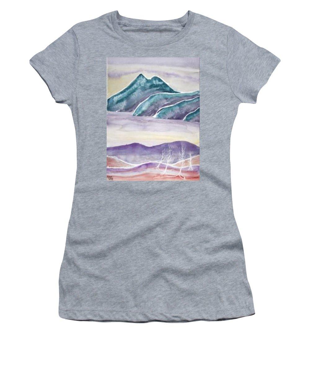 Watercolor Women's T-Shirt featuring the painting TRANQUILITY landscape mountain surreal modern fine art print by Derek Mccrea