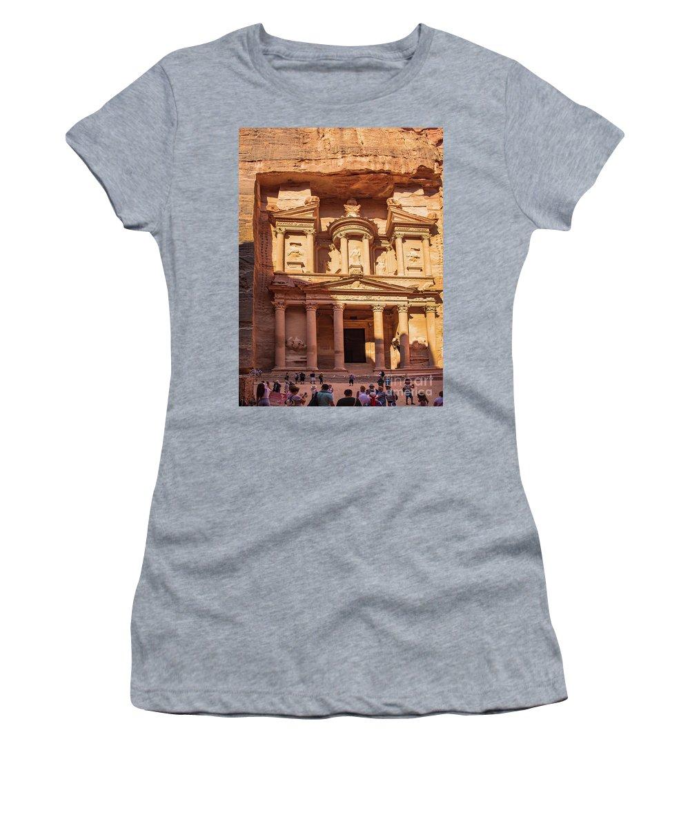 Treasury Of Petra In Color Women's T-Shirt featuring the photograph Treasury Of Petra In Color by Mae Wertz