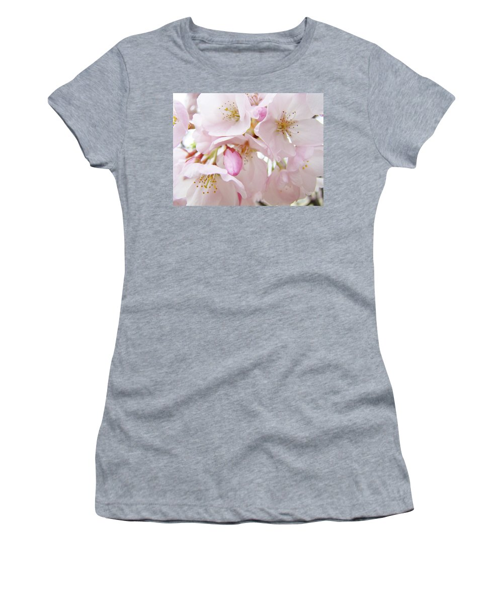 Blossom Women's T-Shirt featuring the photograph Tree Blossoms Art Prints Canvas Pink Spring Blossoms Baslee Troutman by Baslee Troutman
