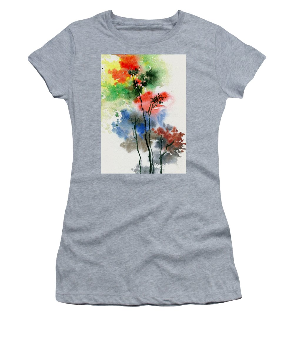 Trees Women's T-Shirt featuring the painting Trees In Colors by Anil Nene