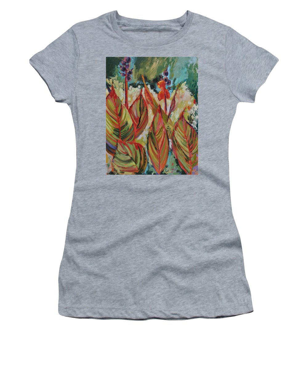 Tropicana Women's T-Shirt (Athletic Fit) featuring the painting Tropicana by Ginger Concepcion