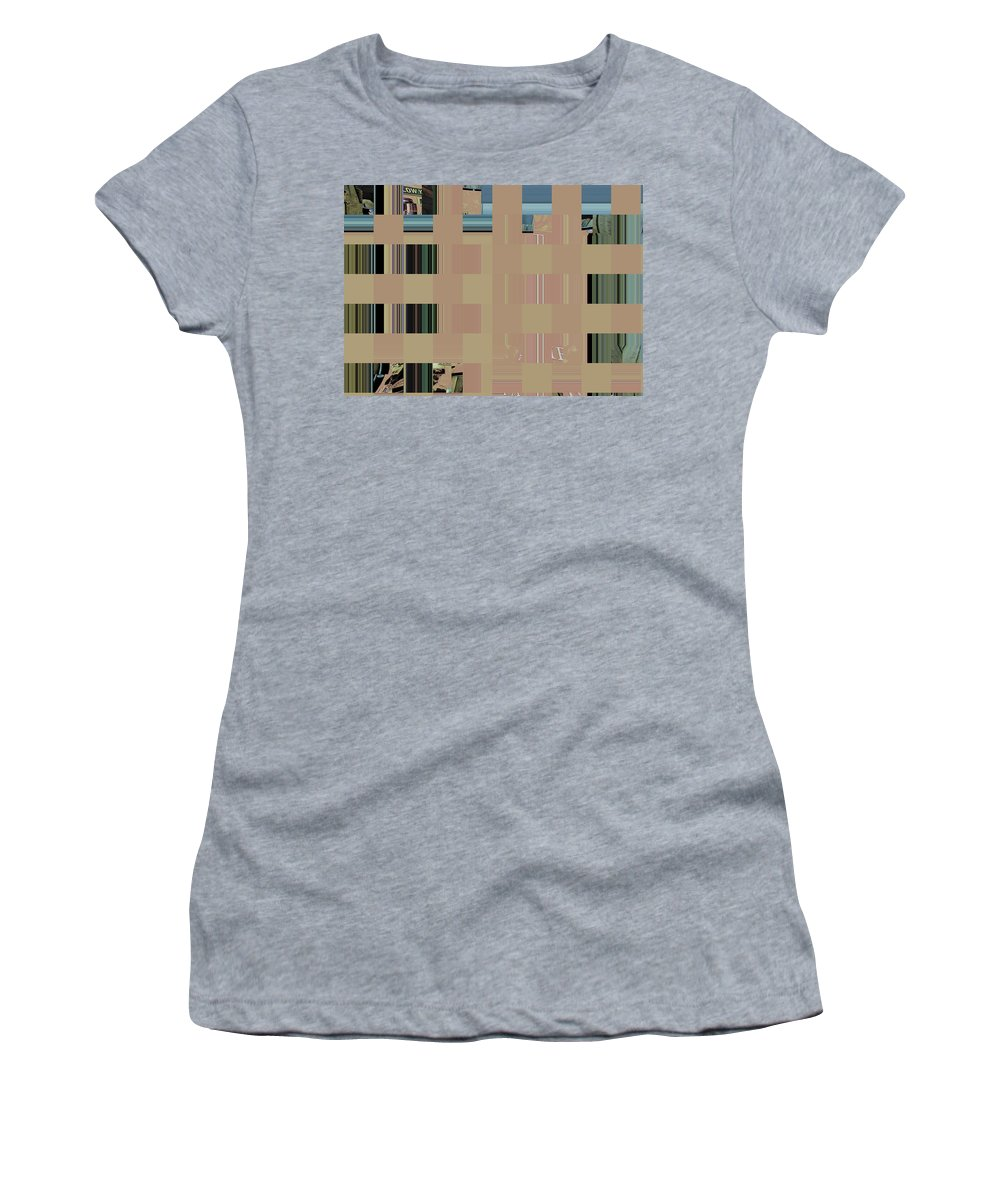 Abstract Women's T-Shirt (Athletic Fit) featuring the digital art Trying To Simplify Abstract by Lenore Senior